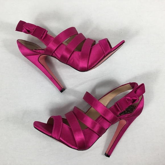 38bae403804d Betsey Johnson Shoes - Betsey Johnson Hot Pink Satin Strappy Bow Heels